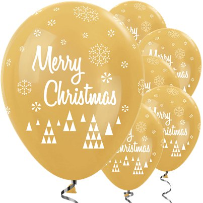 "Gold Christmas Balloons - 12"" Latex"