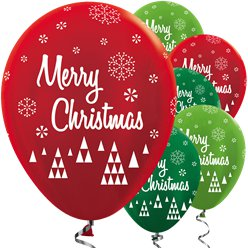 "Metallic Red & Green Merry Christmas Balloons - 12"" Latex"
