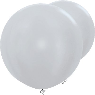 "Satin Silver Giant Balloons - 36"" Latex"