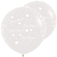 "Crystal Clear Just Married Giant Balloons - 36"" Latex"