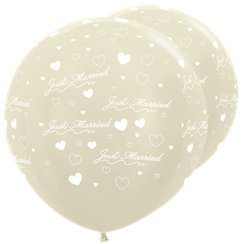 "Satin Ivory Just Married Giant Balloons - 36"" Latex"