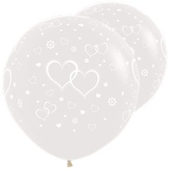 "Crystal Clear Giant Wedding Balloons - 36"" Latex"