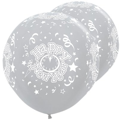 "Satin Silver Giant New Year Balloons - 36"" Latex"