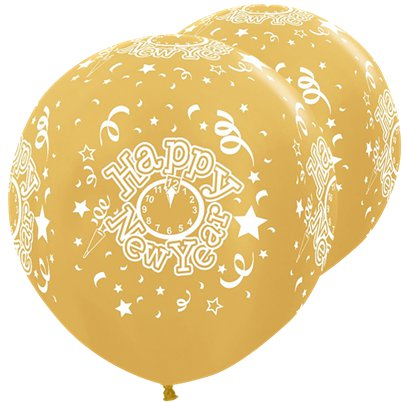 "Metallic Gold Giant New Year Balloons - 36"" Latex"