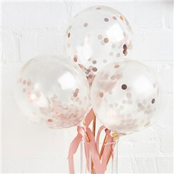 Rose Gold Mini Confetti Balloon Wands - 5