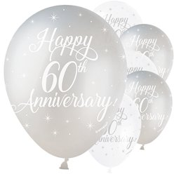 "Silver & Ivory 60th Anniversary Balloons - 12"" Latex"
