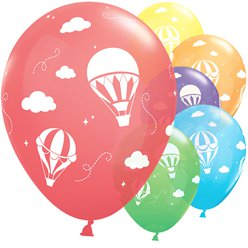 "Rainbow Hot Air Balloons - 11"" Latex"