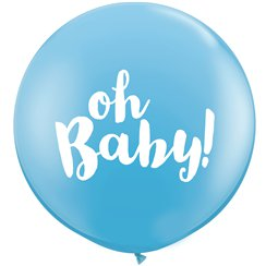 "Baby Blue Oh Baby Giant Balloon - 36"" Latex"