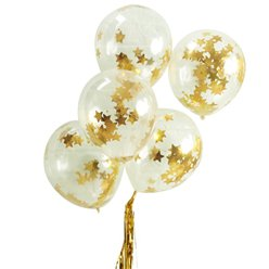 Gold Star Confetti Balloons - 12
