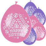 "Pink Happy Birthday Balloons - 11"" Latex"