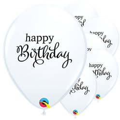 "White Birthday Balloons - 11"" Latex"