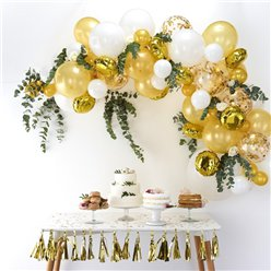 White and Gold Balloon Arch - 70 Balloons