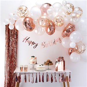 Rose Gold Balloon Arch - 70 Balloons