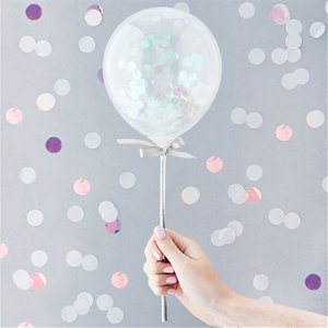 Iridescent Mini Confetti Balloon Wands - 5