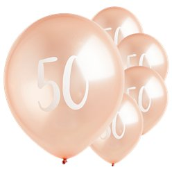 "Rose Gold 50th Milestone Balloons - 12"" Latex"