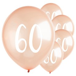 "Rose Gold 60th Milestone Balloons - 12"" Latex"