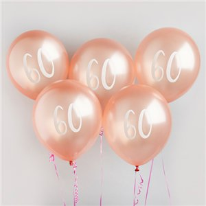Rose Gold 60th Milestone Balloons - 12