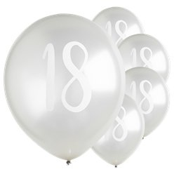 "Silver 18th Milestone Balloons - 12"" Latex"