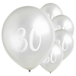 "Silver 30th Milestone Balloons - 12"" Latex"