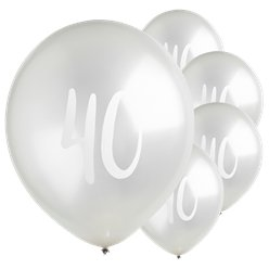 "Silver 40th Milestone Balloons - 12"" Latex"