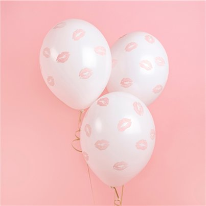 "White Lips Print Balloons - 12"" Latex"