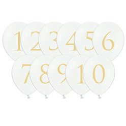 White Wedding Table Number Balloons - 12