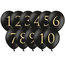 "Black Wedding Table Number Balloons - 12"" Latex"