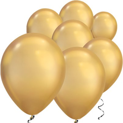 "Gold Chrome Balloons - 7"" Latex"