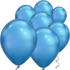 "Blue Chrome Balloons - 7"" Latex"