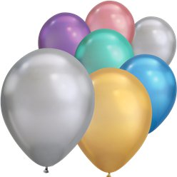 "Assorted Chrome Balloons - 11"" Latex"