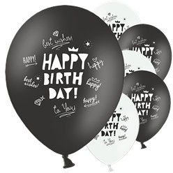 Monochrome Happy Birthday Latex Balloons - 12""