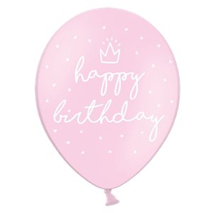 Pastel Pink Happy Birthday Latex Balloons - 12