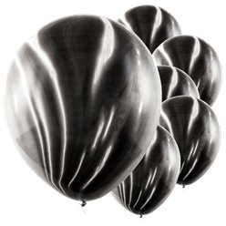 Black Marble Latex Balloons - 12""