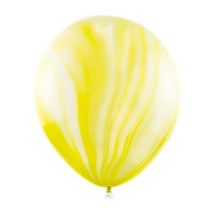 Yellow Marble Latex Balloons - 12