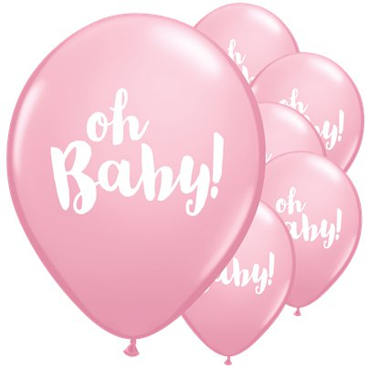 "Pink Oh Baby Balloons - 11"" Latex"
