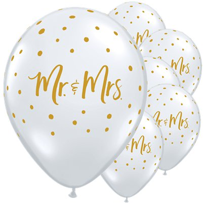 "Mr & Mrs Gold Dots Diamond Clear Balloons - 11"" Latex"