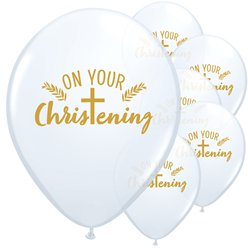 "White Christening Balloons - 11"" Latex"