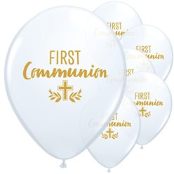 "White First Communion Balloons - 11"" Latex"