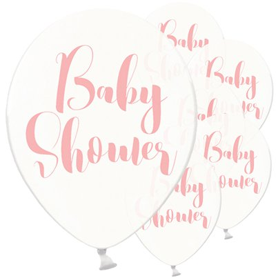 "Clear Pink Baby Shower Balloons - 12"" Latex"
