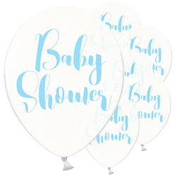 "Clear Blue Baby Shower Balloons - 12"" Latex"