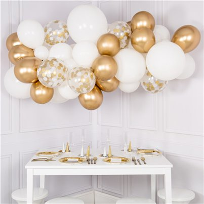White & Gold Bubblegum Balloon Cloud Kit