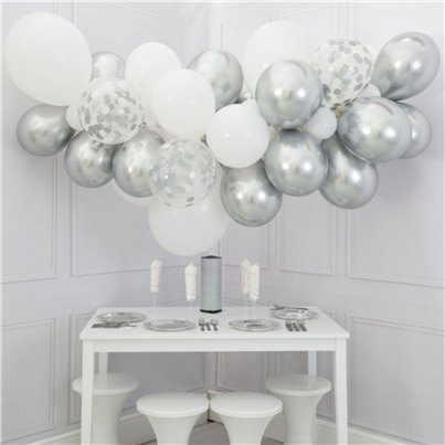 Innocence White & Silver Bubblegum Balloon Cloud Kit