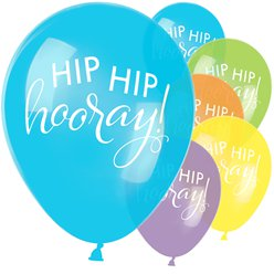 "Hip Hip Hooray Pastel Mix Balloons - 11"" Latex"