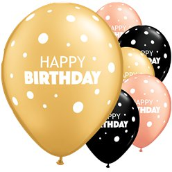 Bday Dot Mix  Latex (25pk) (Balloons)