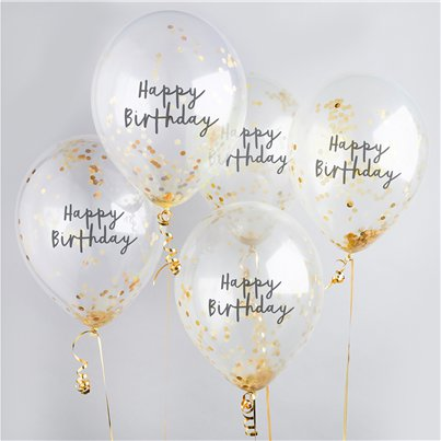 "Happy Birthday Gold Confetti Balloons - 12"" Latex"