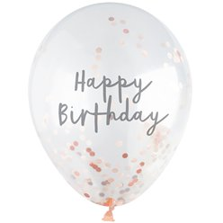 "Happy Birthday Rose Gold Confetti Balloons - 12"" Latex"