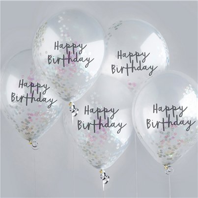 "Happy Birthday Rose Iridescent Confetti Balloons - 12"" Latex"