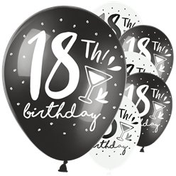 "18th Birthday Black & White Mix Balloons - 11"" Latex"