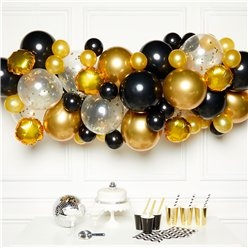 Gold & Black Balloon Arch Garland