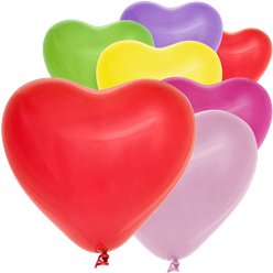 "Heart Shaped Assorted Colour Mini Balloons - 6"" Latex"